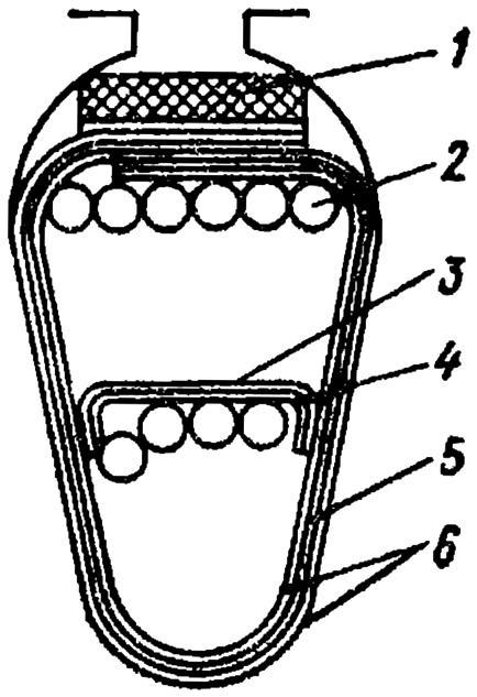 Полузакрытый паз грушевидной формы с обмоткой и изоляцией в машине постоянного тока