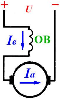Схема двигателя постоянного тока с последовательным возуждением